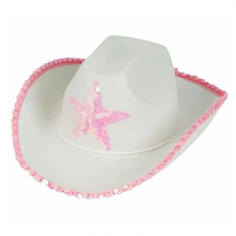 White Felt Cowgirl Cowboy Hat With Pink Star Cauboi Vaqueira Roupas Da Moda Para Adolescente