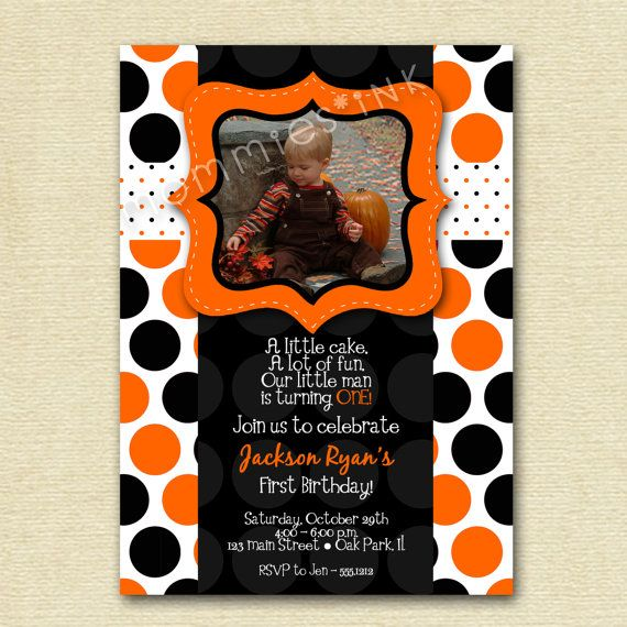 Party Invite Halloween 1st Birthday Pinterest Card Ideas