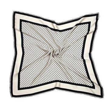 Silk Scarf with Black & White Polka Dot - Aspinal of London - Luxury English Lifestyle