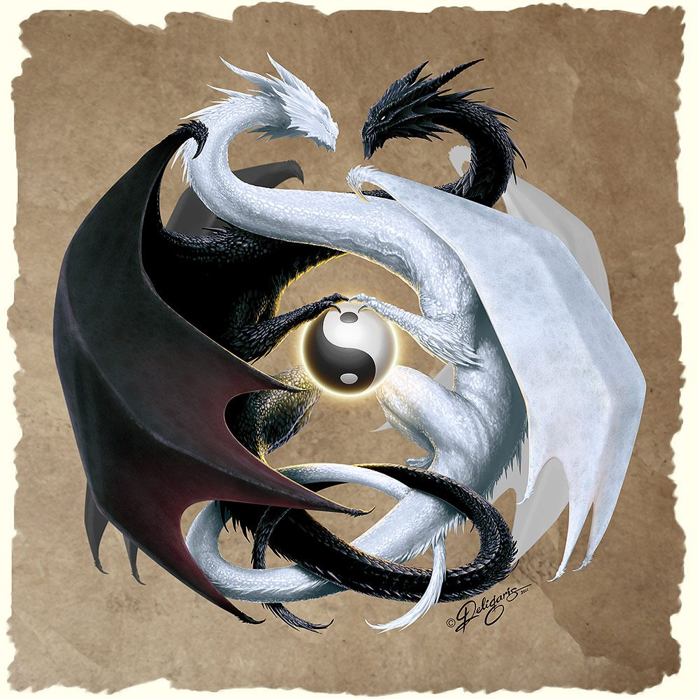 Double Dragon By Nick Deligaris Tatuajes Yin Yang Tatuajes Dragones Ying Y Yang