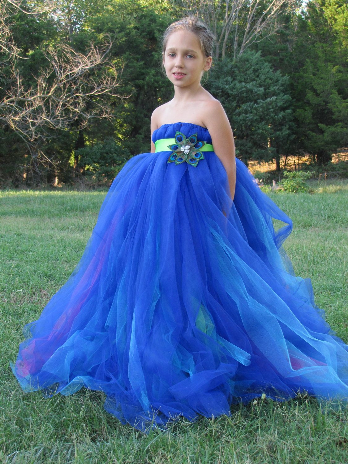 bfc6bab82 And something like this for your junior bridesmaid. Peacock tulle flower girl  dress. $75.00, via Etsy.