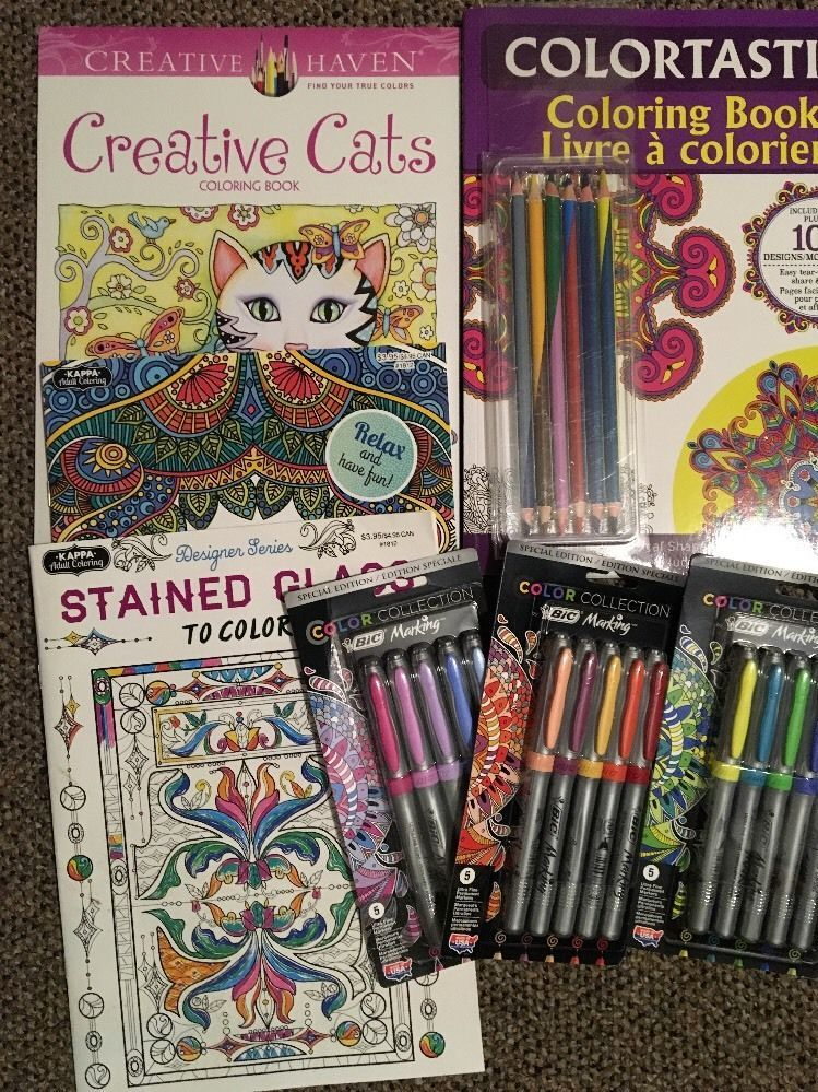 Lot Of 67 Designer Series Adult Coloring Books Bic Markers Free Shipping