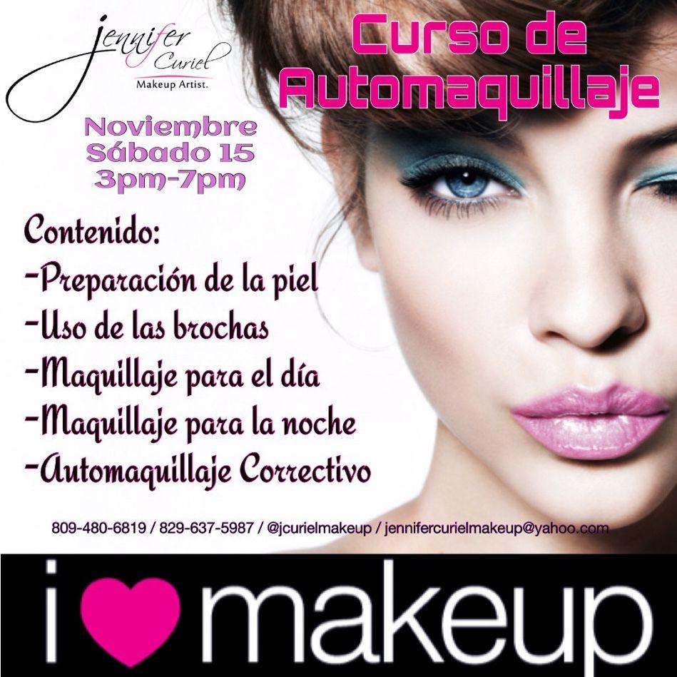 Aprovecha Nuestro Curso de AUTOMAQUILLAJE que tenemos para ti!! No te pierdas esta gran oportunidad!!  Para más información:  Whatsapp: 829-637-5987/809-480-6819 Correo: jennifercurielmakeup@yahoo.com Instgram: @jcurielmakeup Facebook: Jennifer Curiel - Makeup Artist Twitter: @jcurielmakeup