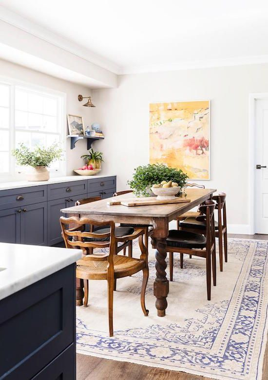 Buffet Rug Under Dining Table When The Chairs Are Placed Under Pleasing Rug Under Kitchen Table Decorating Design