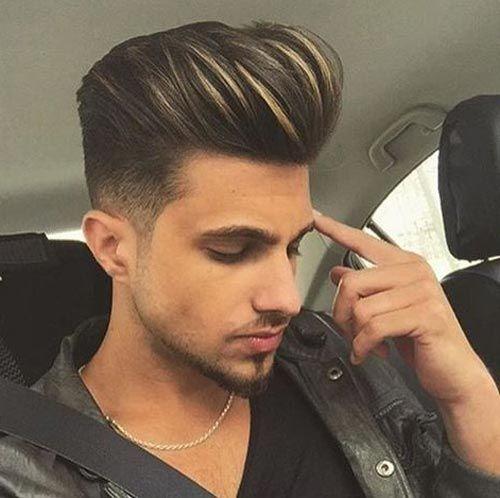 30 Pompadour Haircut Ideas For Modern Men Styling Guide Men Hair Highlights Hair Styles Boys Colored Hair