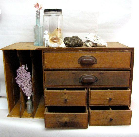 Wooden Desktop File Cabinet Curio Storage Unit 1920s Vintage