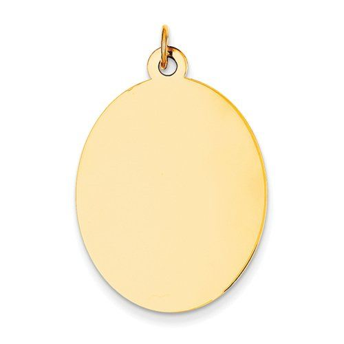 14K Yellow Gold Plain .018 Gauge Engravable Oval Disc Charm - http://www.specialdaysgift.com/14k-yellow-gold-plain-018-gauge-engravable-oval-disc-charm/