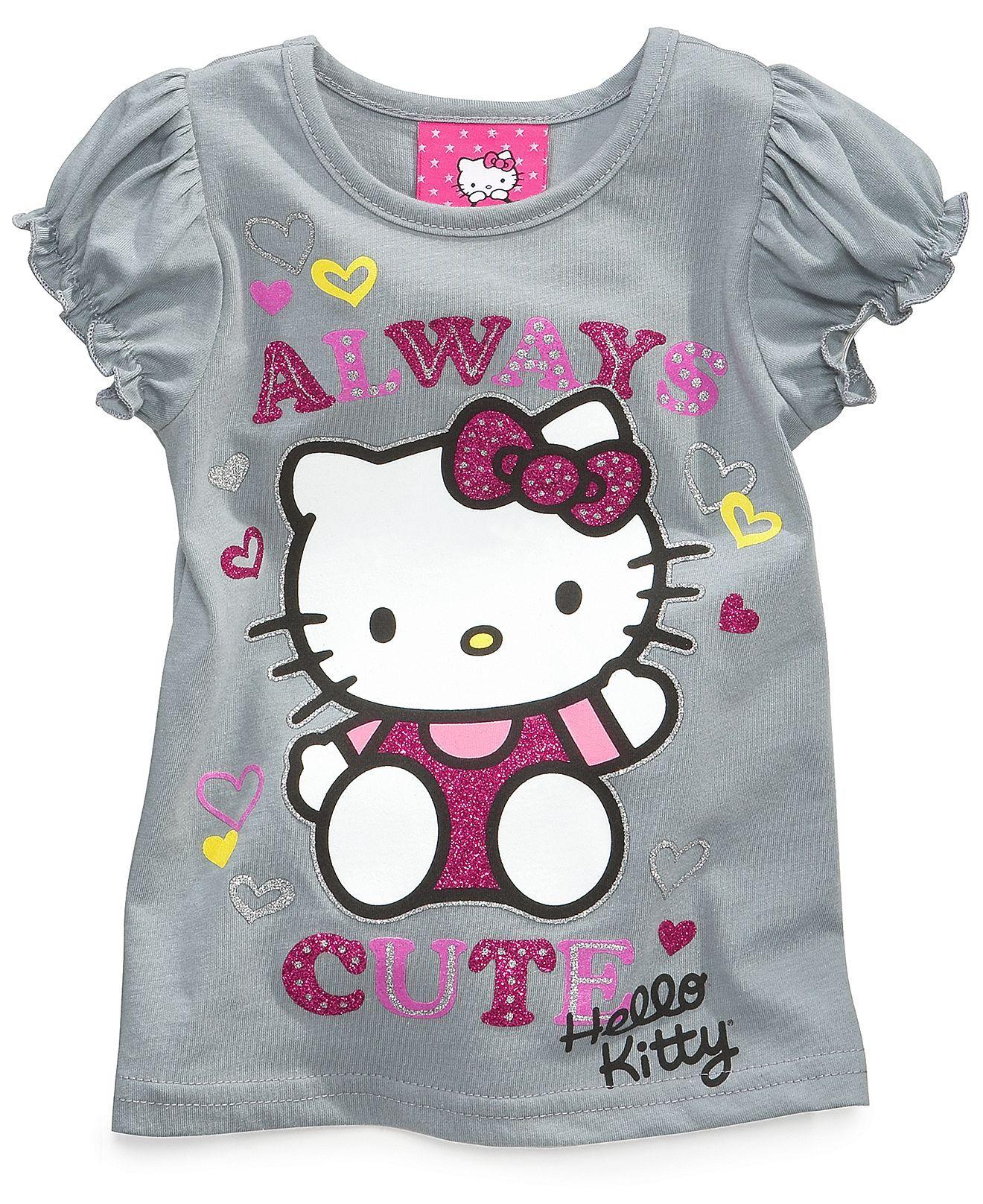 Hello Kitty Kids Shirts Little Girls Glitter Graphic Tees