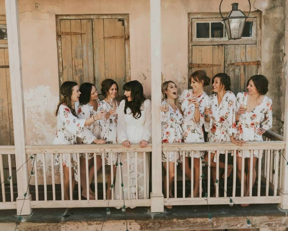 Getting ready with the bridesmaids in floral robes this