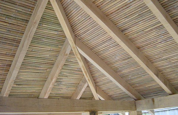 Build A Japanese Tea House Covering The Roof Japanese Tea House Tea House Bamboo Ceiling