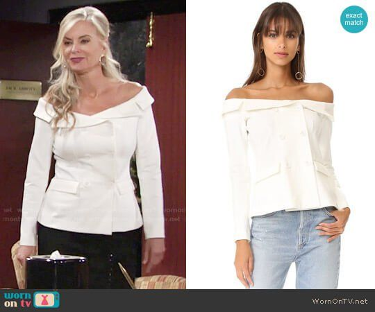 3fb7007acccae1 Ashley s white off-shoulder jacket on The Young and the Restless