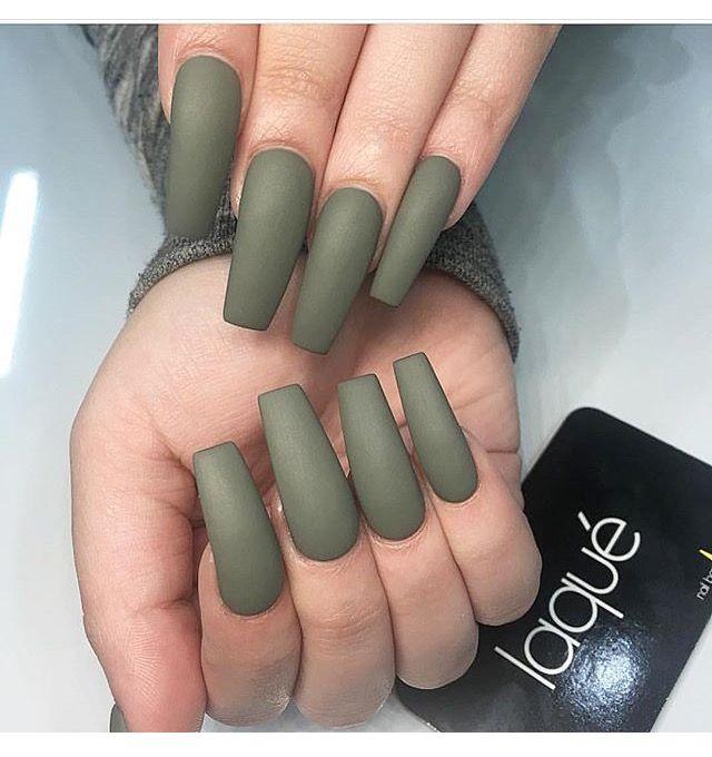 Olive Green Acrylics Green Acrylic Nails Green Toe Nails Matte Olive Green Nails