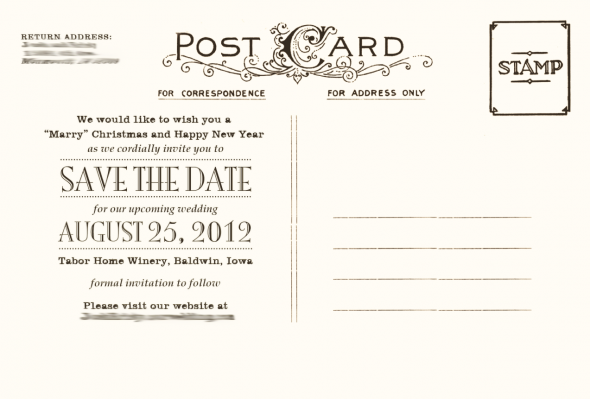 My Save The Date Postcards (Back) | Invitation/Paper Designs