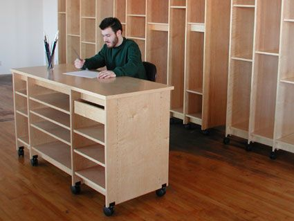 Art Work Table Has Wide Shelves For Storing Paper And Drawers For Drawings And Art Materials Art Storage Storage Spaces Small Space Office