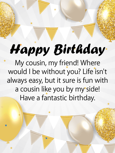 Glitzy Happy Birthday Card For Cousin Life Is More Fun With An Amazing By Your Side Does Shimmer And Shine She Keep Laughing