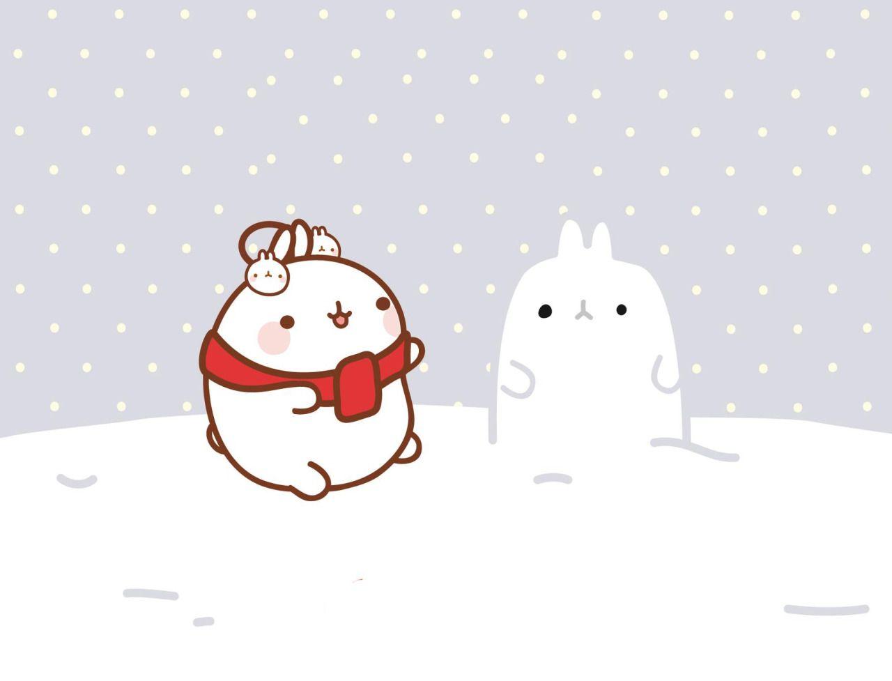 Molang Molang Wallpaper Molang Christmas Desktop Wallpaper