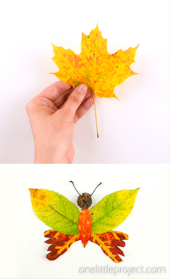 These autumn leaf butterflies and dragonflies are SO COOL and they're really easy to make! Go on a nature walk and see what fun leaves, flowers, pine cones, thistles, and sticks you can find. You can make all sorts of fun creatures from fall leaves! This Autumn nature craft is such a fun fall craft for kids!