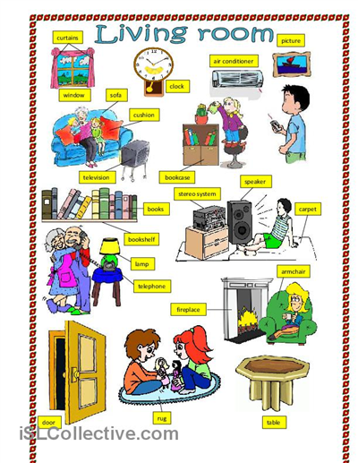 Living room worksheet free esl printable worksheets for Living room vocabulary