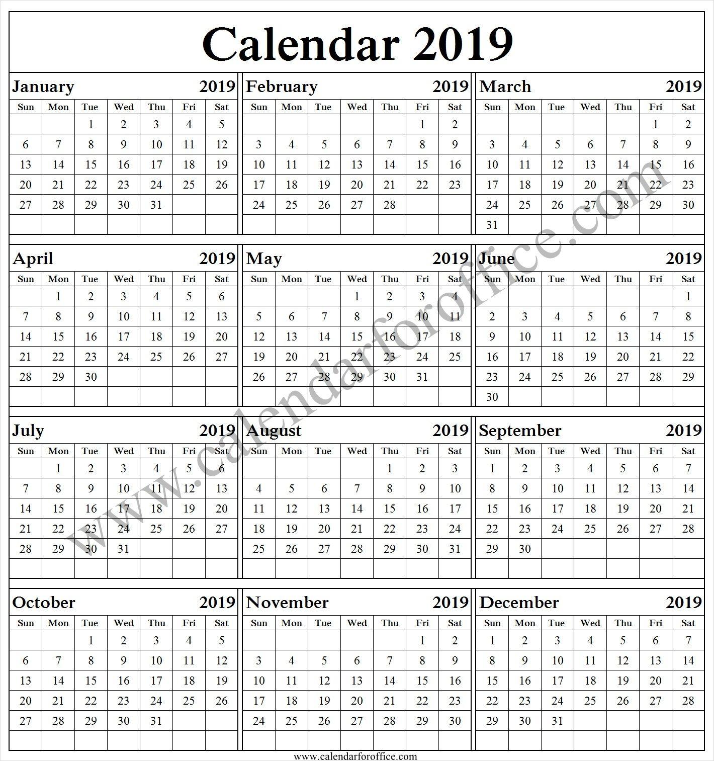English 2019 Calendar 2019 Yearly Calendar Template Excel