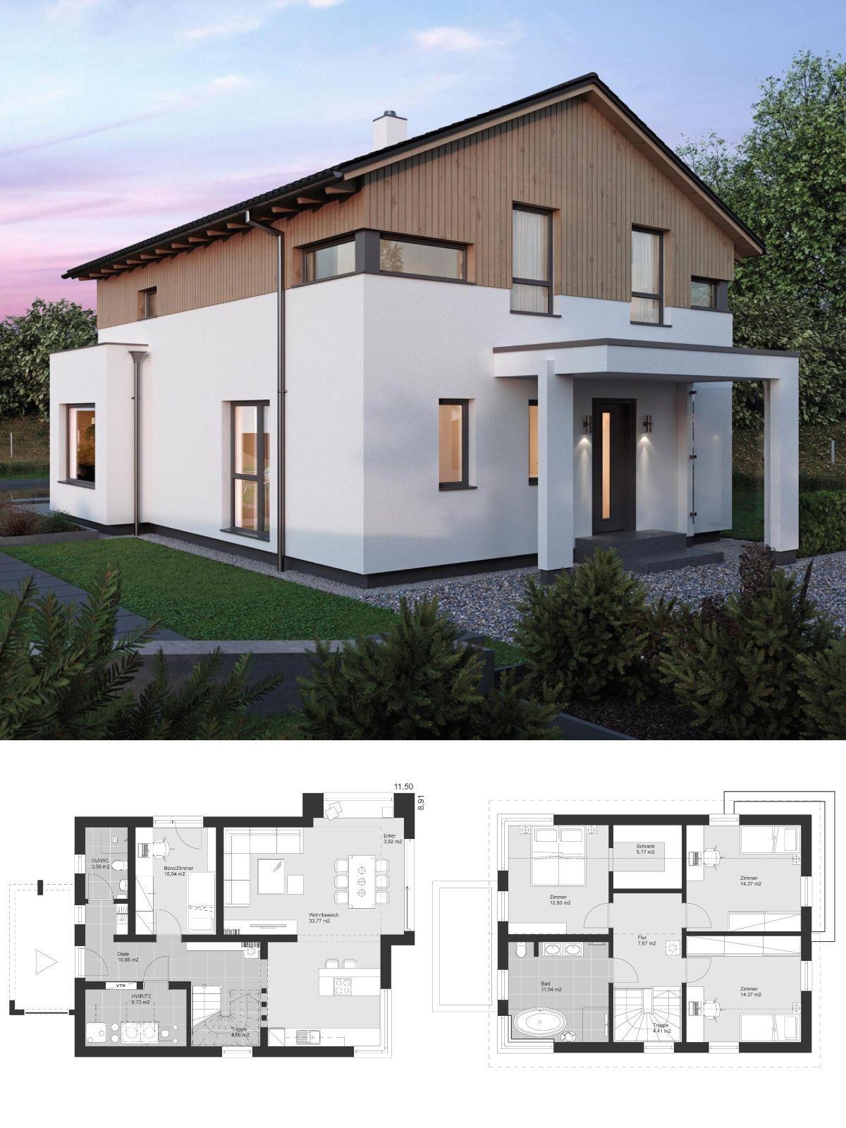 Modernes Landhaus im Alpenstil Grundriss mit Satteldach Architektur ...