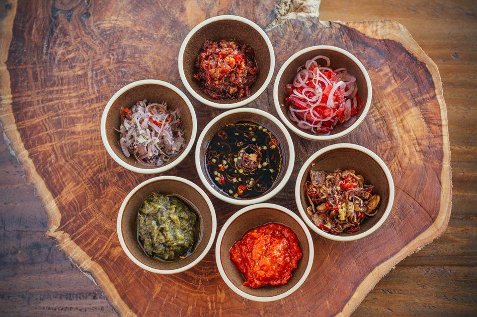 At Bejana, a varierty of spices sambals accompany a classic