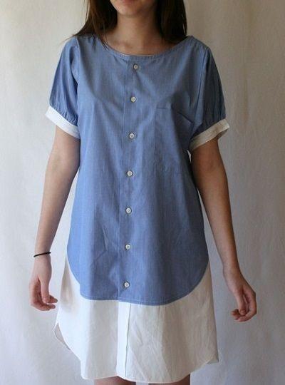 1d259c122b6 как сделать платье из мужской рубашки Переделка Мужской Рубашки
