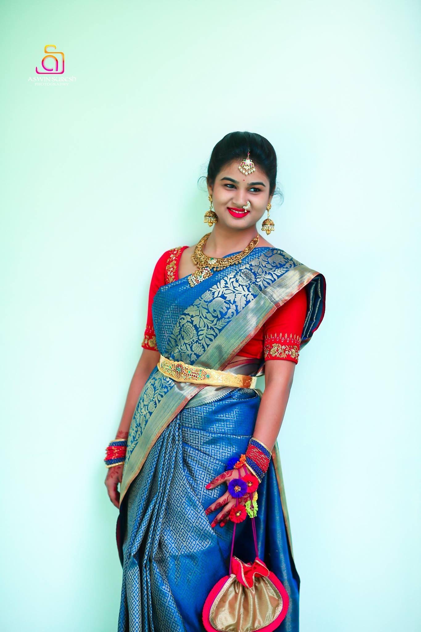 67e36e99e05e9e Contrast red blouse for a blue kanchipuram saree