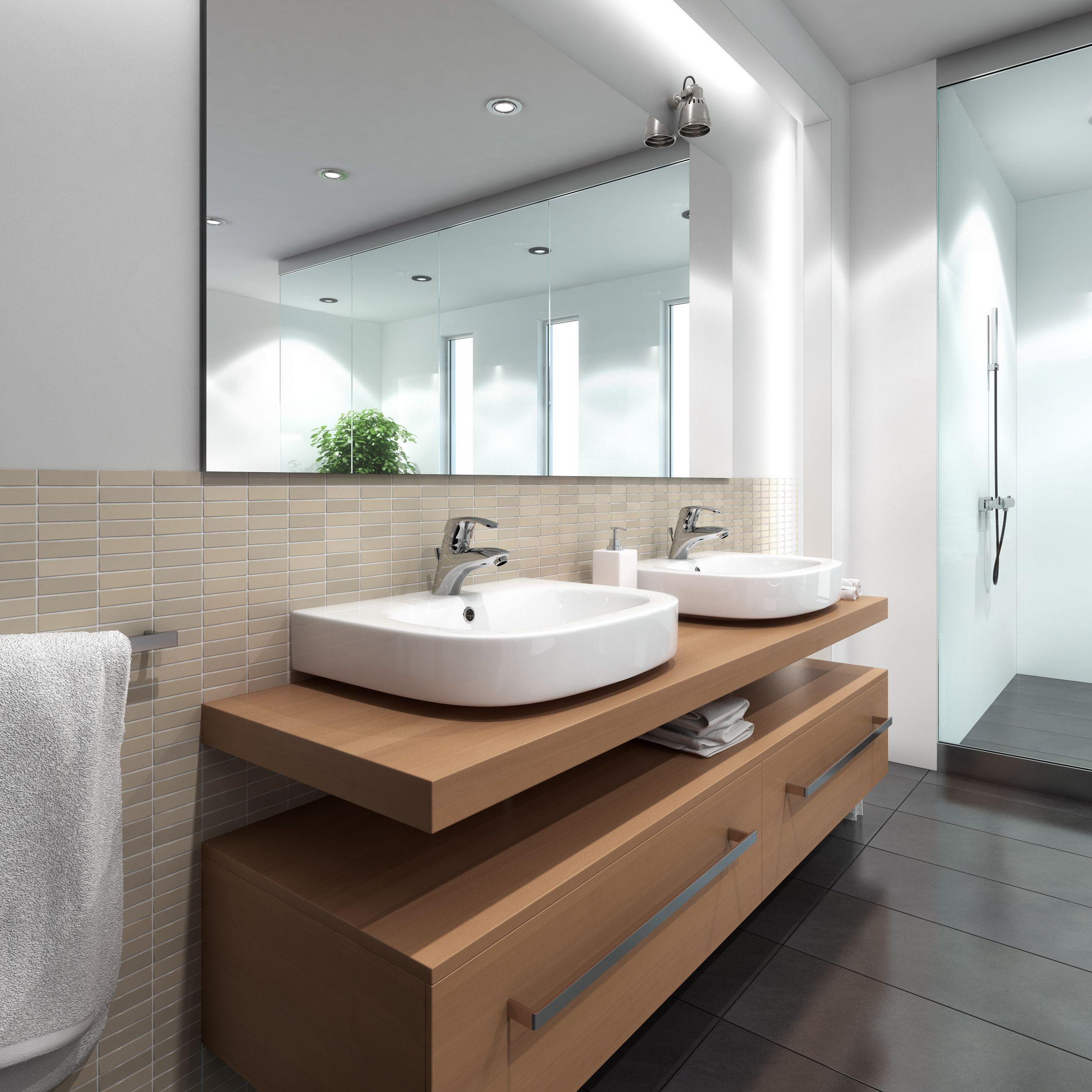 helle r ume gro e spiegelfronten clevere lichtquellen moderne waschbecken und klare linien. Black Bedroom Furniture Sets. Home Design Ideas