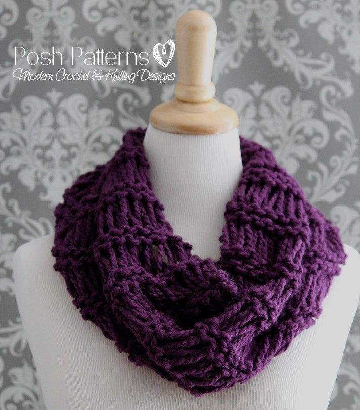 Knitting PATTERNS - Easy Knit Infinity Scarf Pattern | Scarf ...