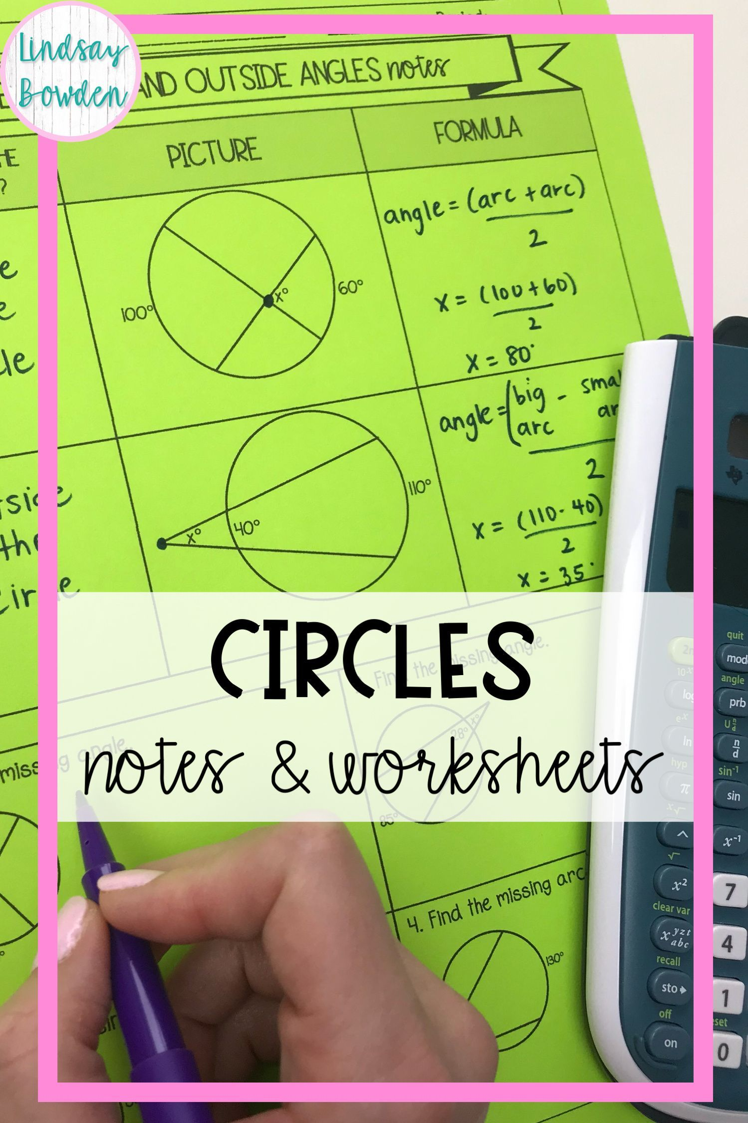 Circles Notes And Worksheets In