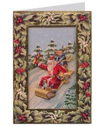 Sledding Santa, Holly and Mistletoe 3-D Christmas Card ~ England