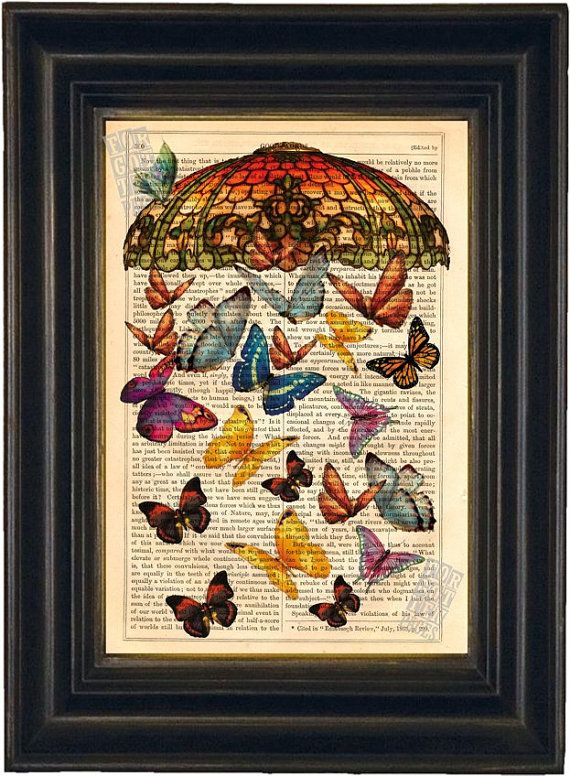 Love this. Maybe the study?    Vintage Tiffany Shade with Butterflies Print on upcycled Vintage 1890's Page. $8.00, via Etsy.