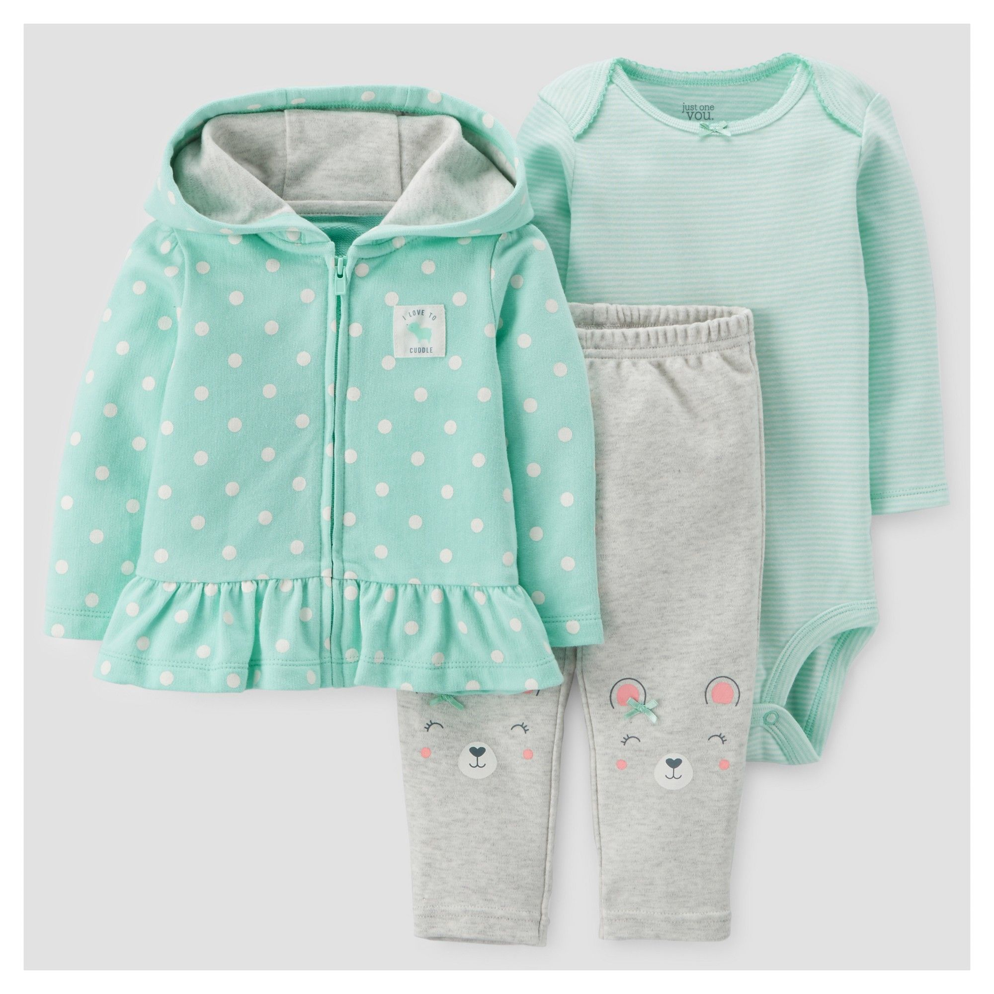 2242af25f Baby Girls  3pc Cotton Hooded Dot Ruffle Set - Just One You Made by ...