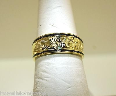 8MM HAWAIIAN 14K YELLOW GOLD OVER STER SILVER QUEEN EMMA ENAMEL CIGAR RING 5-12