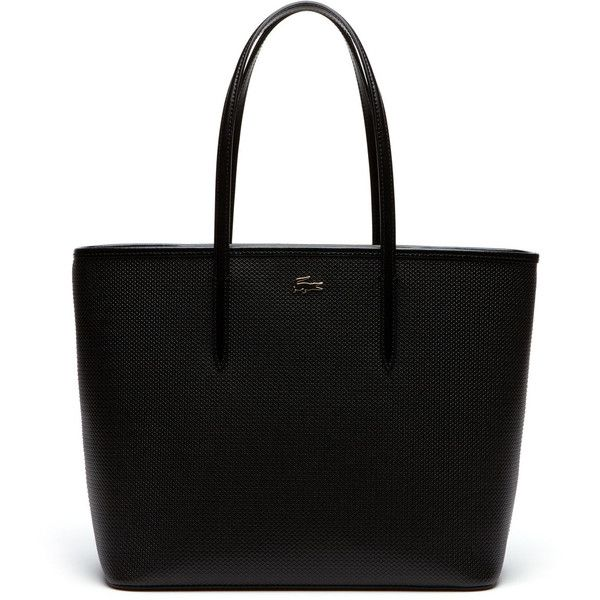 ab1fb57a6f Black Women's Chantaco Piqué Leather Tote Bag found on Polyvore featuring  bags, handbags, tote bags, sac, leather tote, croc tote bag, croc embossed  leather ...