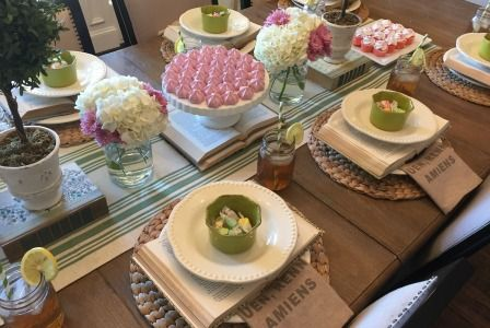 Add pops of color to your tablescape by using fun dishes and colorful food like these green bowls, taffy and meringue from #TuesdayMorning