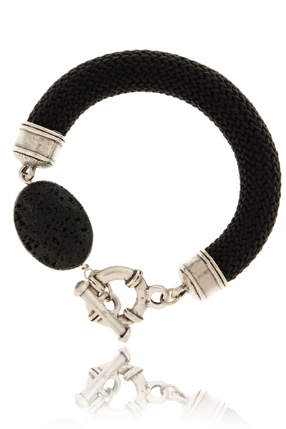 BEHIND THE ROPES LIVANA Black Lava Stone Bracelet - ACCESSORIES | JEWELRY | Bracelets | PRET-A-BEAUTE.COM