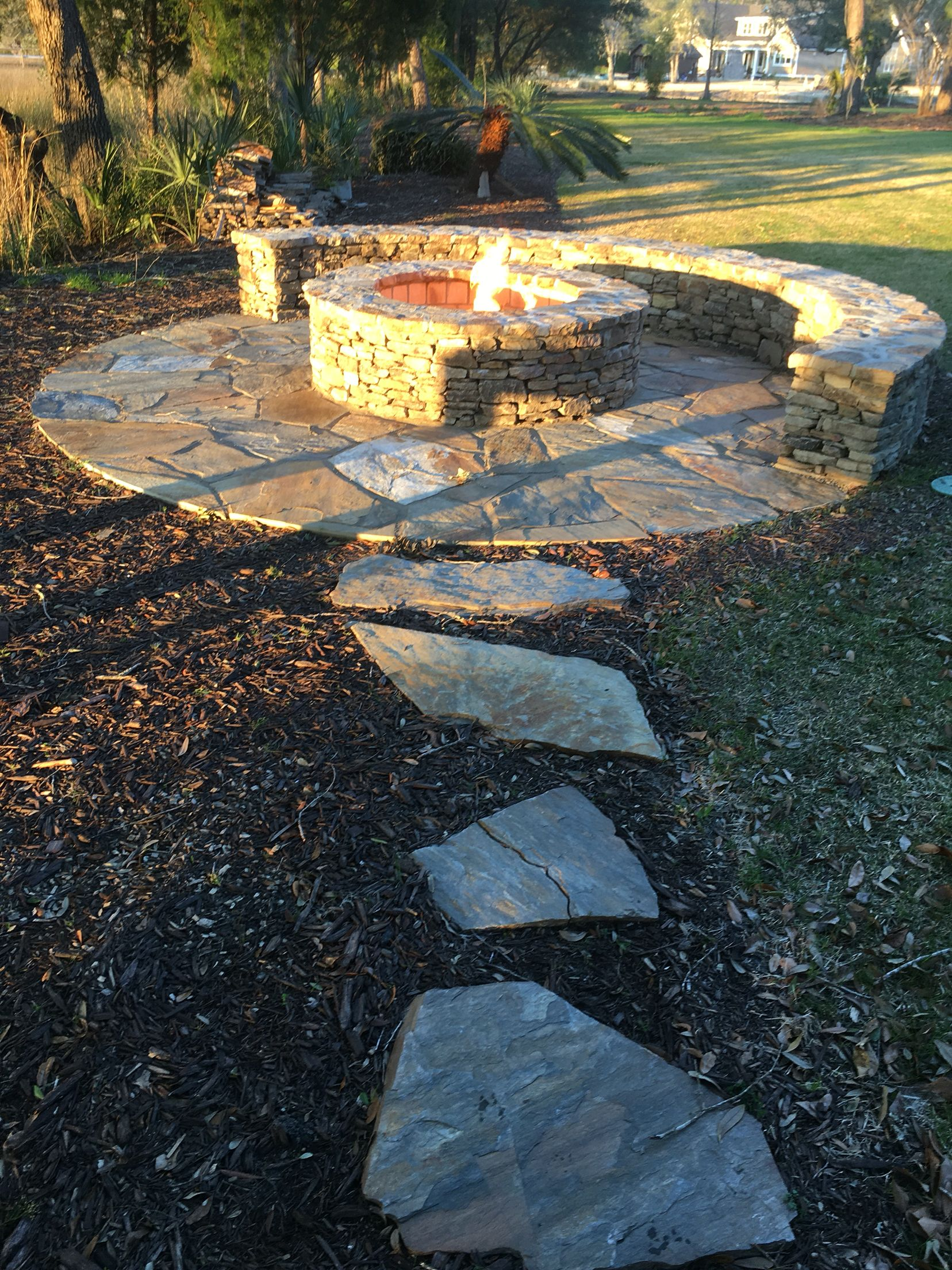 classic stone firepit with gas starter firepits pinterest