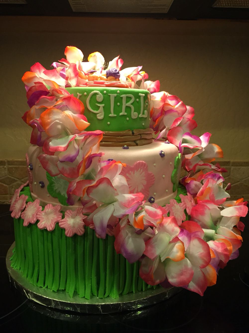 Hawaiian Baby Shower Fondant Baby Cake Www.daydreamcupcakes.com