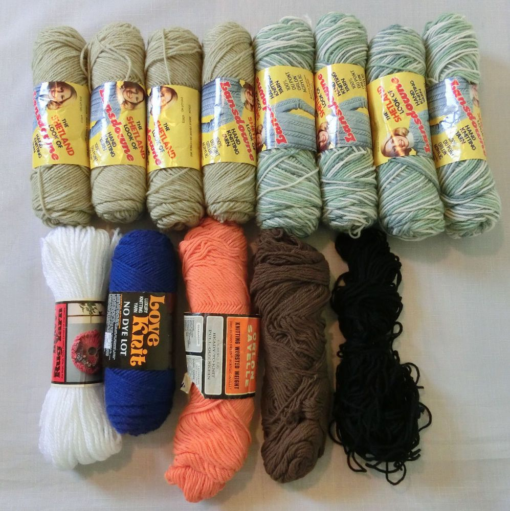 Lot of 13 Skeins Vintage 4-Ply Knitting Worsted Yarn Beige Olive Green & other