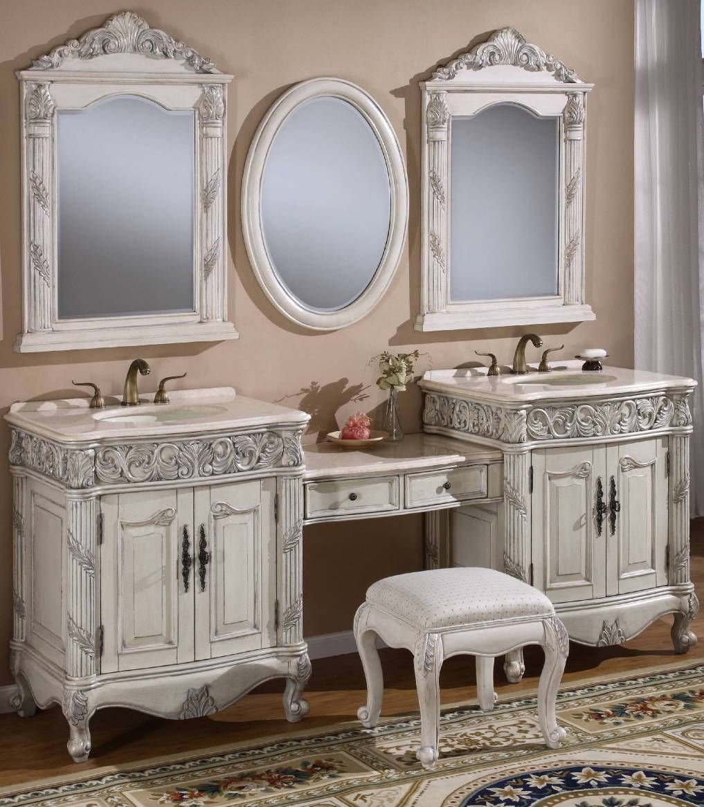 16 Gorgeous Vintage Make Up Vanity Design Ideas Unique Bathroom Vanity Bathroom Sink Vanity Double Vanity Bathroom [ 1166 x 1017 Pixel ]