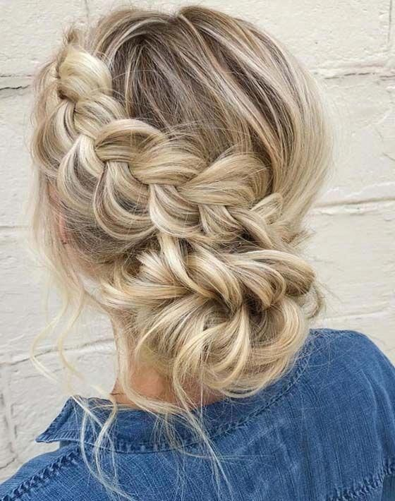 46 Unforgettable Wedding Hairstyles For Long Hair 2019 Updo Hairstyle With Messy Braid For Laid Back Coun Hair Styles Long Hair Styles Braiding Your Own Hair