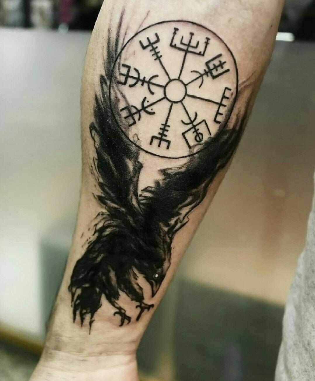 Viking Runes Tattoo Raven Vegvisir Nordictattoo Nordic