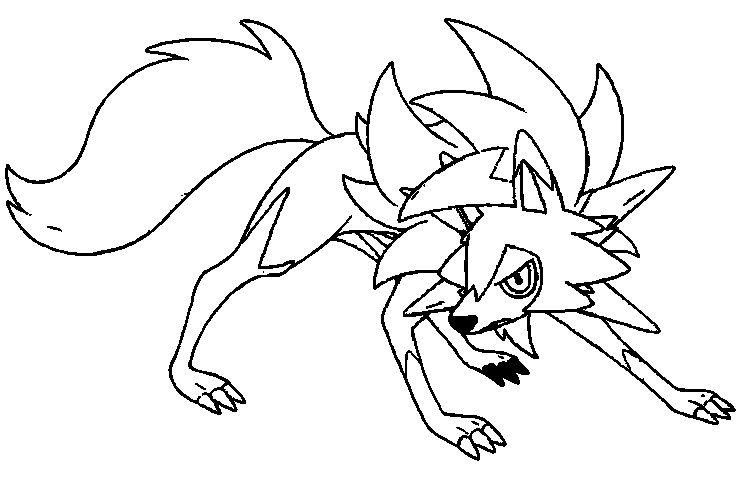 Pokemon Coloring Pages Sun And Moon Lycanroc Dusck From Yahoo