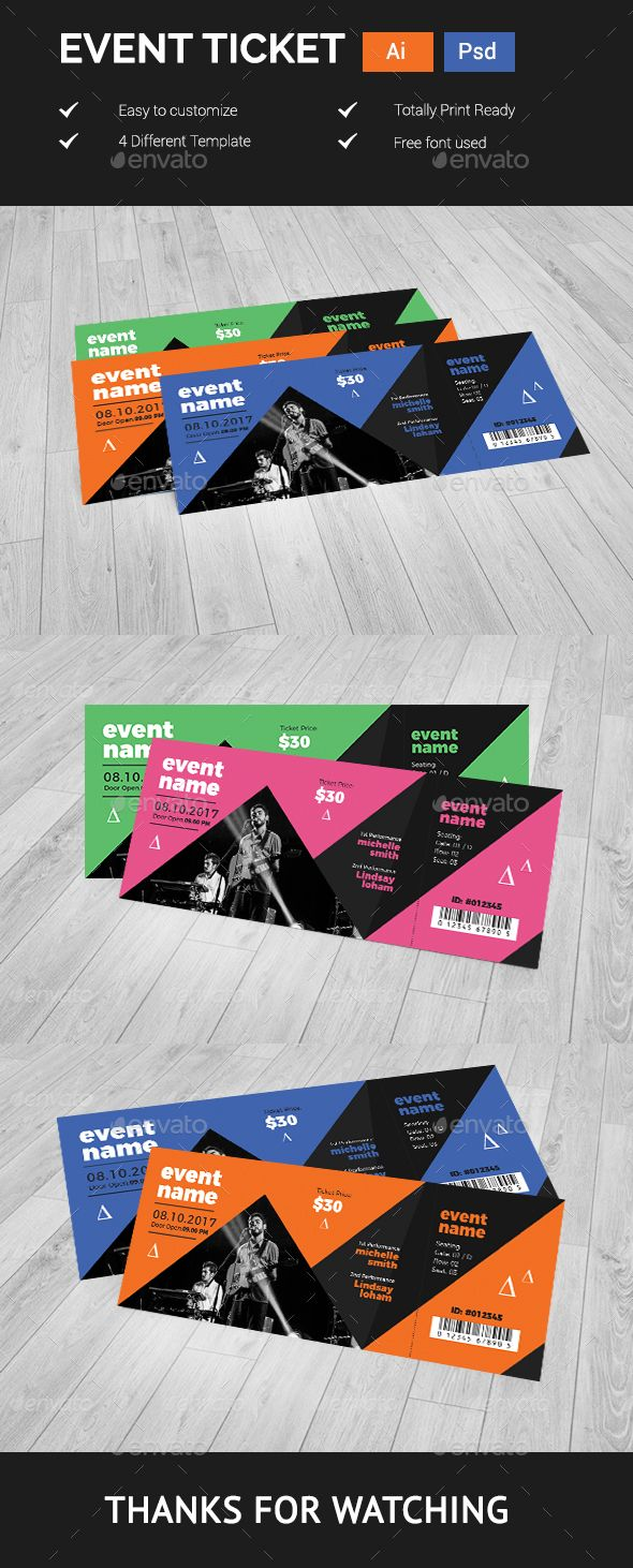 Event Ticket Design Template Cards Invites Design