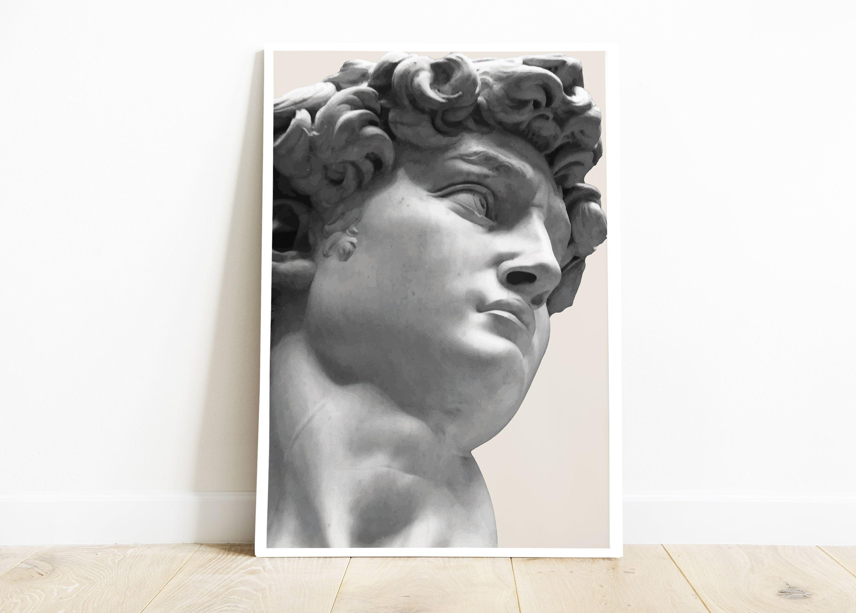 Greek Statue Of David Wall Art Printable Beige Tones Antique Home Decor Large Artwork Bust Statue Greek Style Print Of David Roman Art Large Artwork Roman Art Art