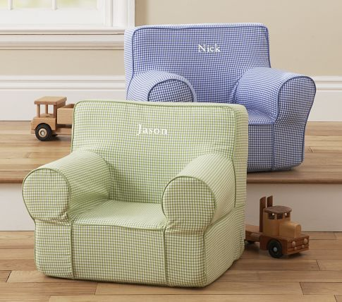 Blue Gingham My First Anywhere Chair Pottery Barn Kids