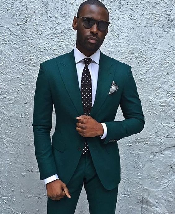 New Custom Made Dark Green Groom Tuxedos Casual Man Suit Handsome ...