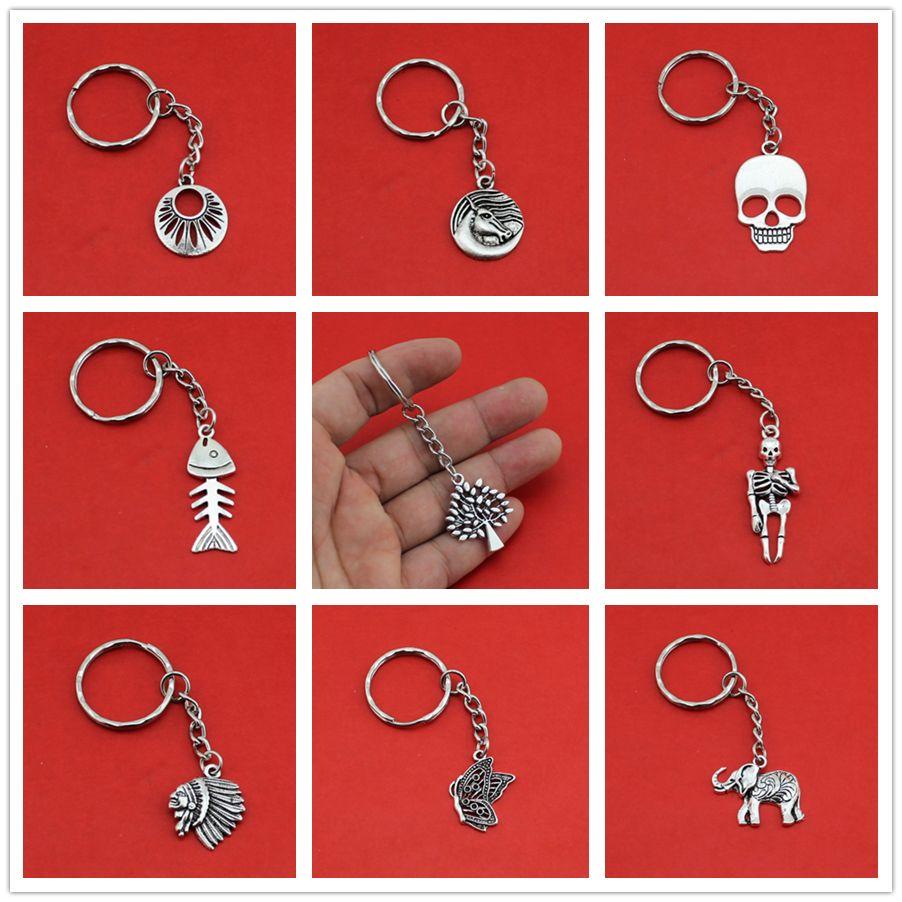 여성/남성 패션 수제 빈티지 실버 두개골 코끼리 HorseTree 키 체인 키 링 합금 매력 선물 YSDY238 도매