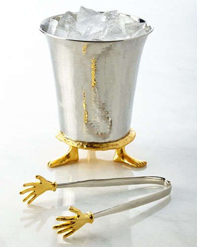 Micahel Aram footed ice bucket with cold hands ice tongs